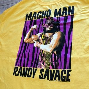Shirts - NWOT Macho Man Randy Savage WWE Shirt XXL Gold S/S